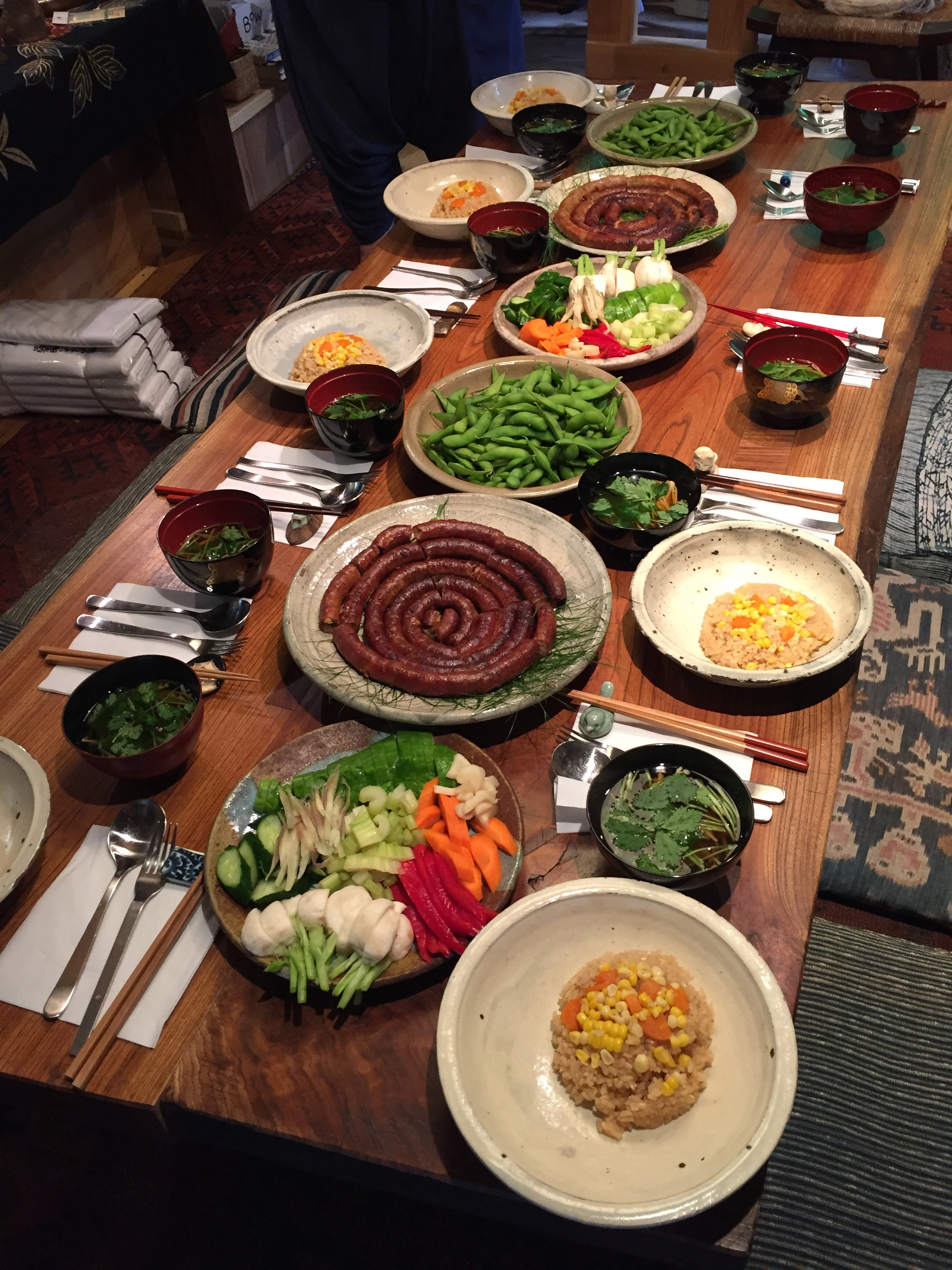 Dinner at Bryan's farmhouse, cooked by Hiro.