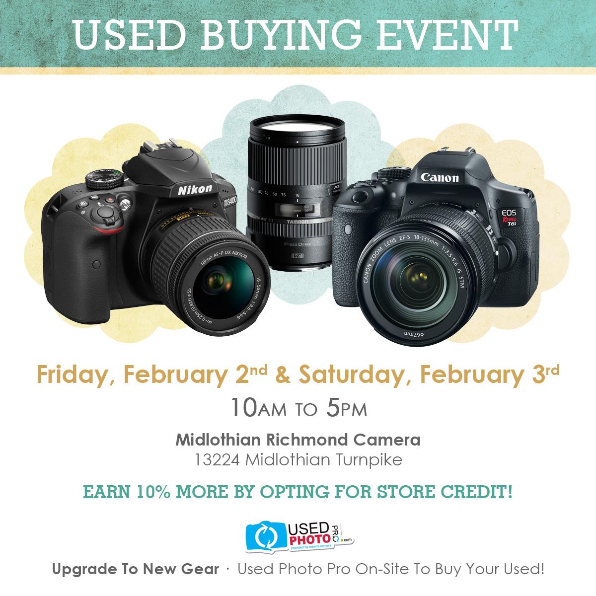 used-buying-event-camera-gear-midlothian-richmond-va