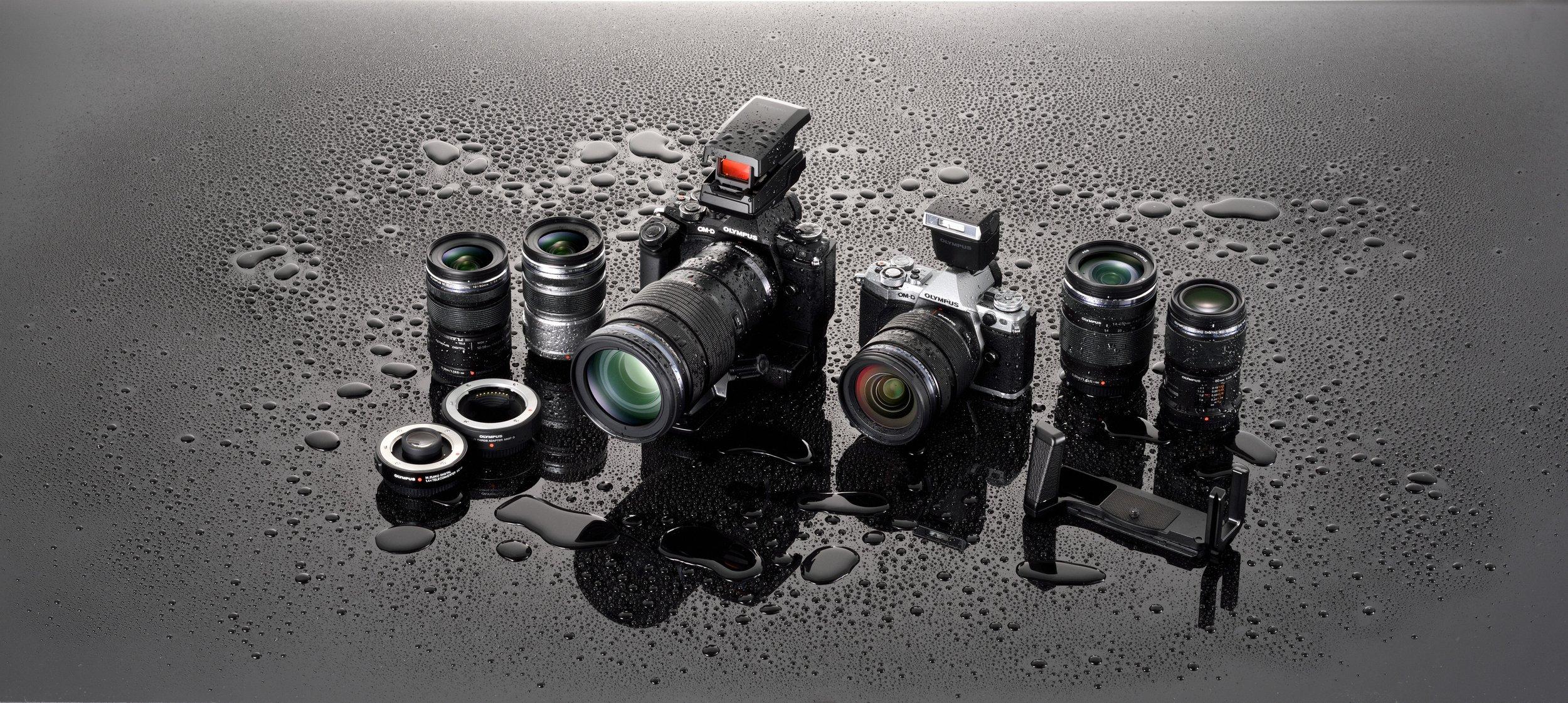 Olympus EM5 Mark II & select M.Zuiko Lenses are splashproof, dustproof, & freeze proof.