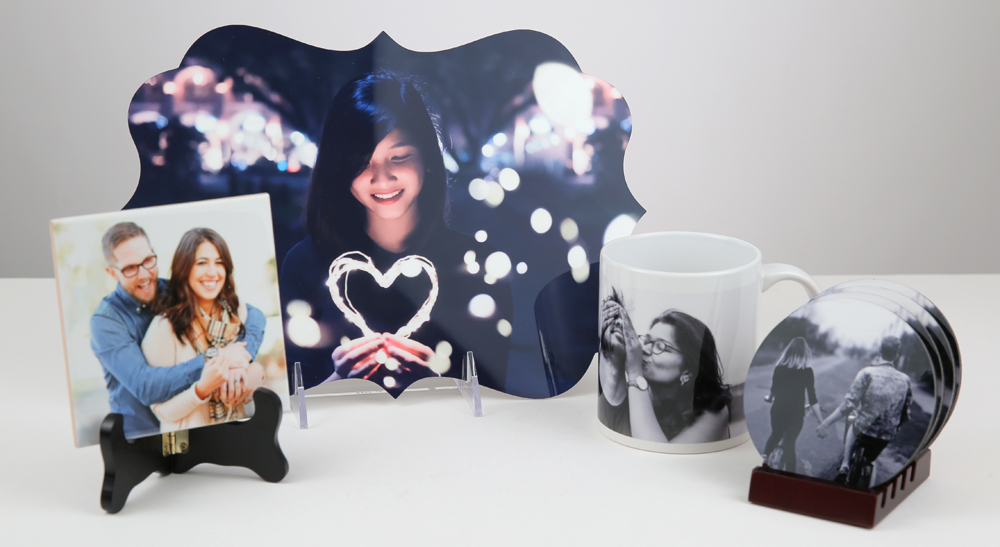 from left to right: ceramic tile, metal print, photo mug, photo coasters