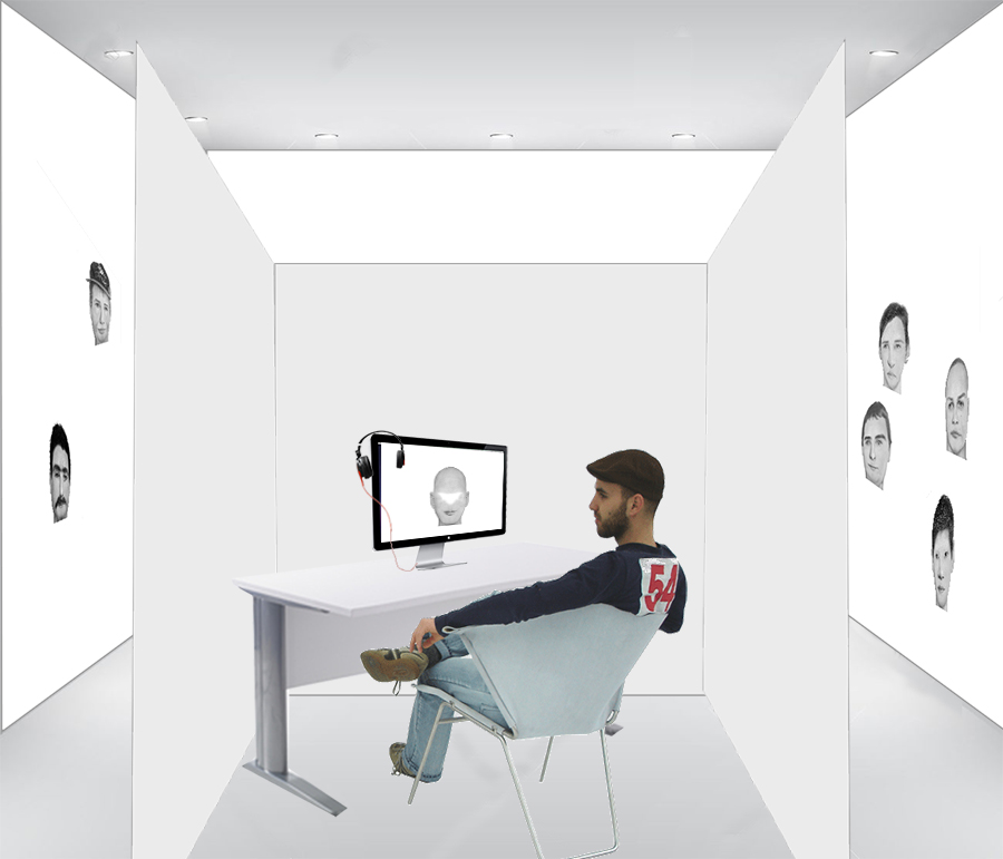 "Proposed cubicle for installation of ""The Personal Ads"". Cubicle, desk, computer with software program, headphones, audio files and printer with ability to print out final work from viewers."