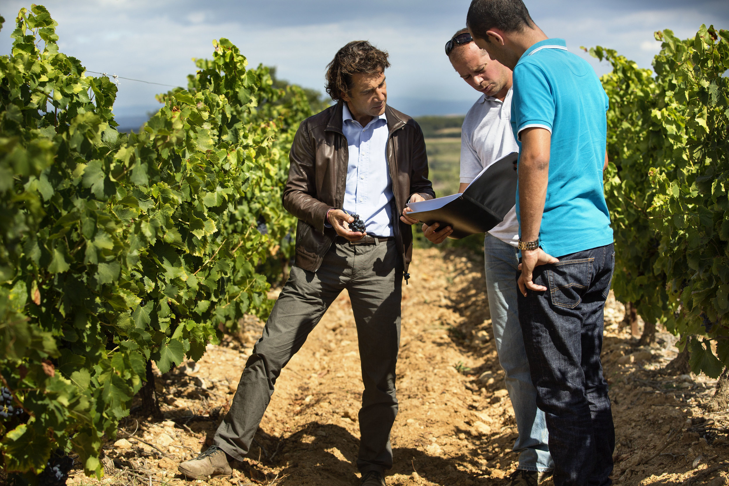 Jean-Claude Mas talks to his vineyard crew.