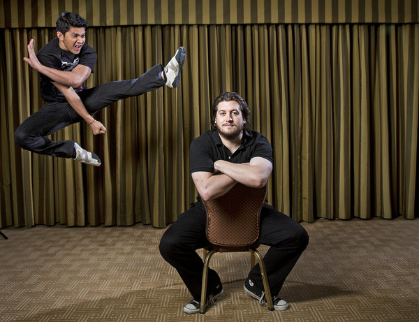 Director, Gareth Evans (seated), discovered his star, Iko Uwais (leaping) while working on a documentary--Uwais was a deliveryman before being discovered.