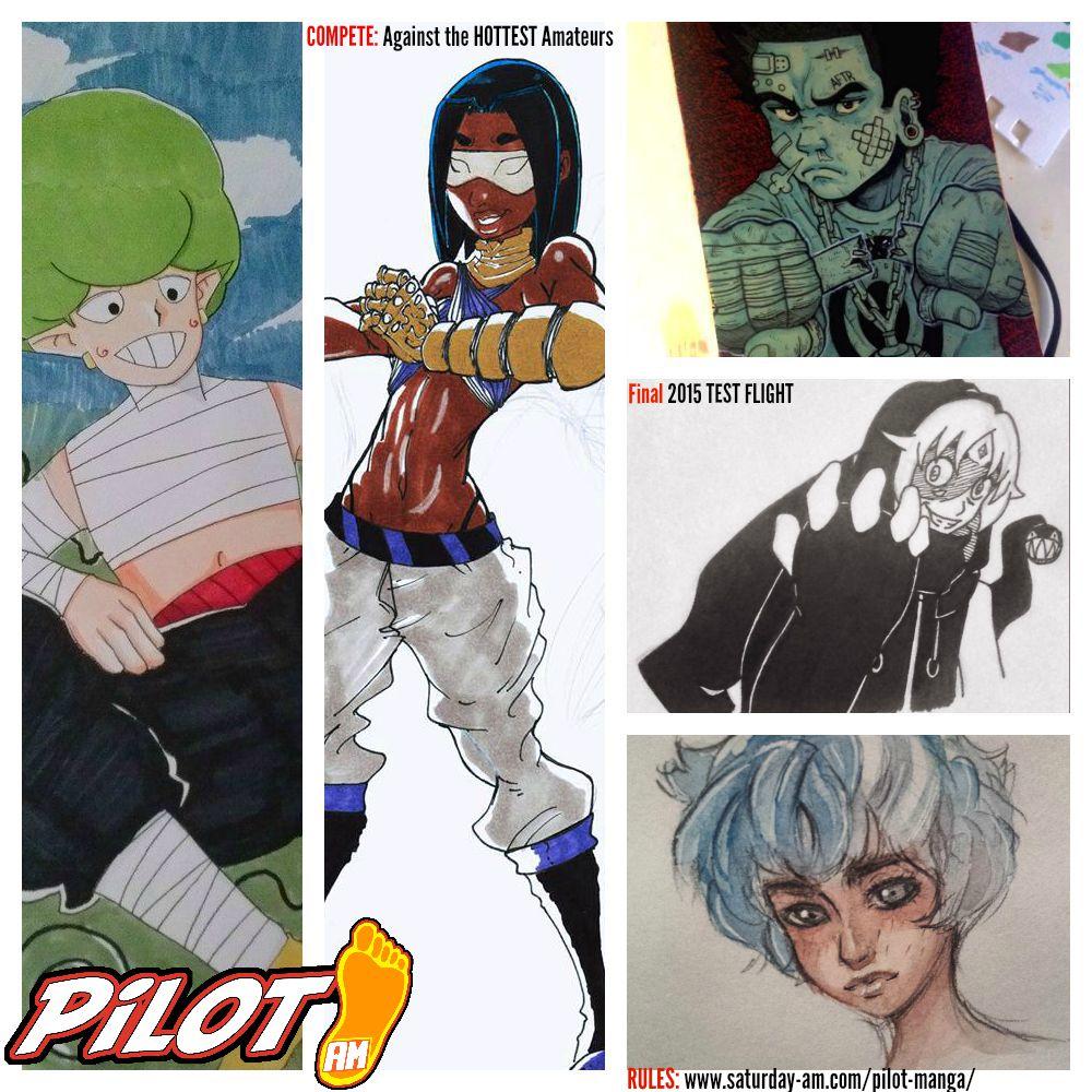 Artwork from members of PILOT Manga  (Clockwise from left) - Kenshaw Michaud, Cthulu Hernandez, Brandon Treadway, Stephanie Snow Lewis and Noah Webster.