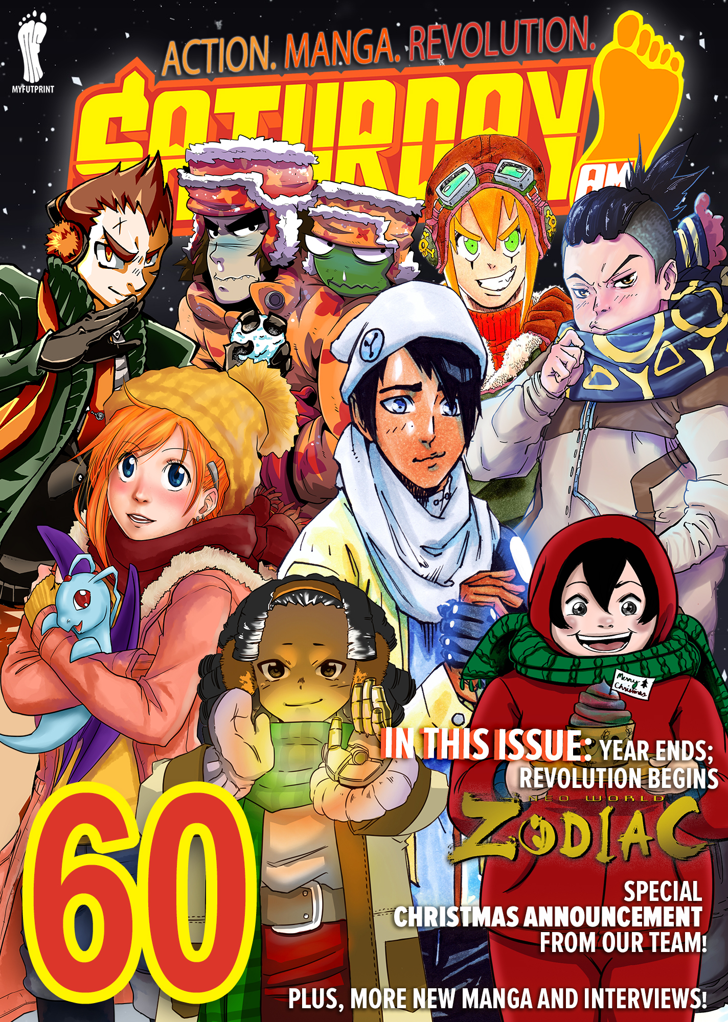 Ou latest issue features a jam cover with over 7 of our artists like Whyt Manga and all of our top manga webcomic series like CLOCK STRIKER