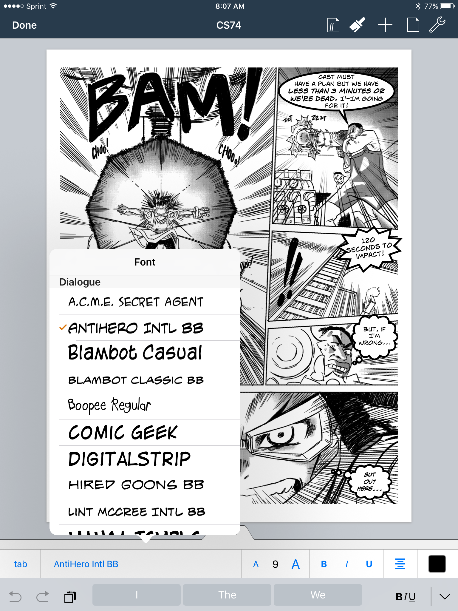 COMIC LIFE's Lettering options are AMAZING! Tons of font styles, lots of plug and play speech bubble patterns. CLOCK STRIKER page from Saturday AM #62