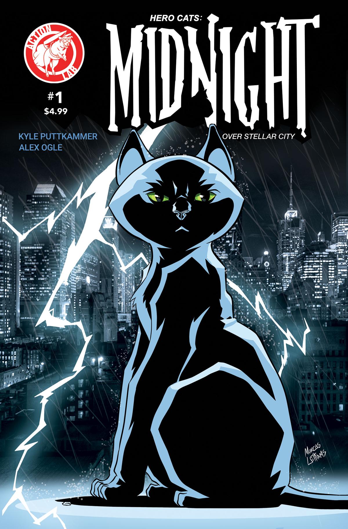 HERO CATS: Midnight over Stellar City featuring art by Alex Ogle.