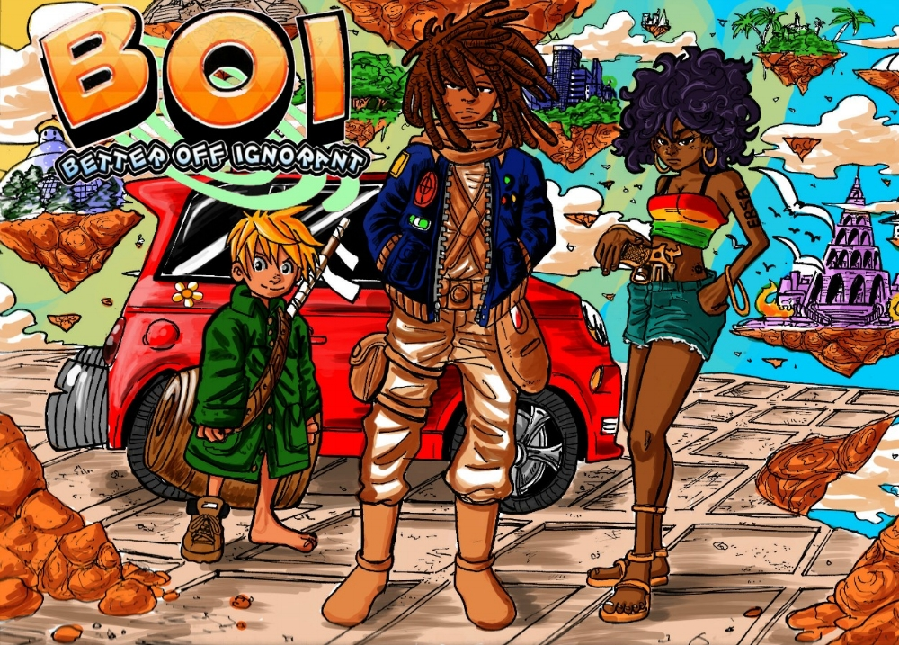 BETTER OFF IGNORANT is known as BOI as opposed to GYRL (hey, that's a cool idea!!), the EXCLUSIVE shonen manga by Luqman Otutuloro and Austin Harvey.