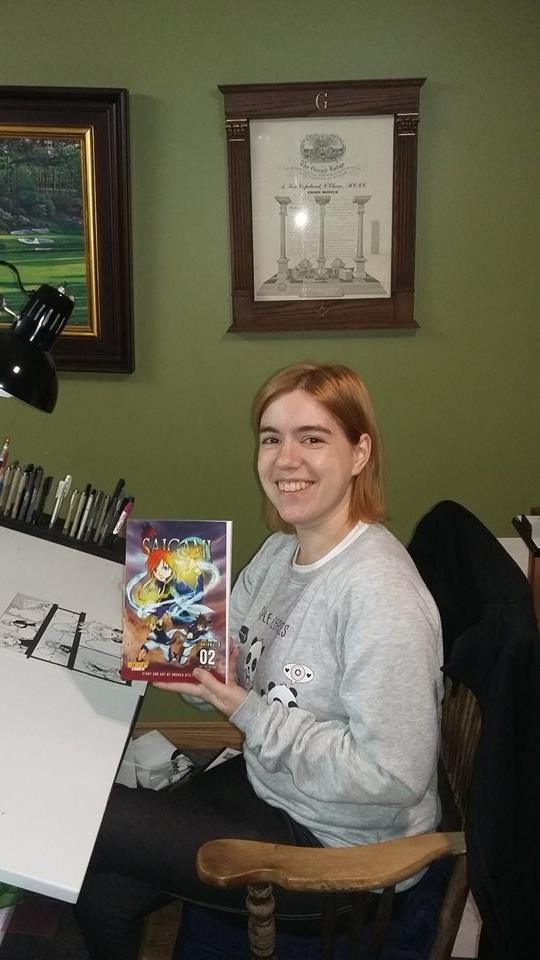 The always lovely and adorable Andrea Voros with her test copy of SAIGAMI vol. 2