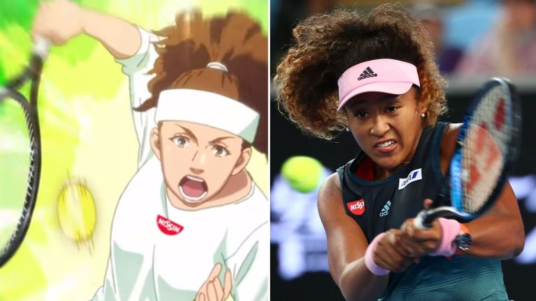 The anime version from the Nissin commerical versus the actual dark-skinned Athlete.