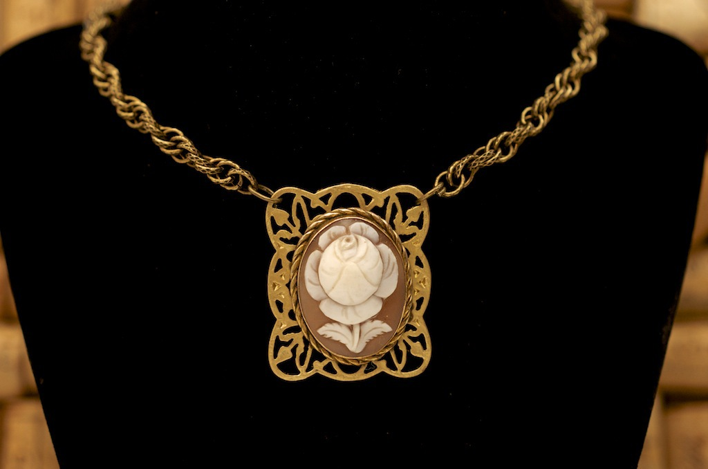 This loose cameo came to my client from her great-grandmother. Vintage by Cathy found a backing that complimented it perfectly, giving it new life again as a necklace.