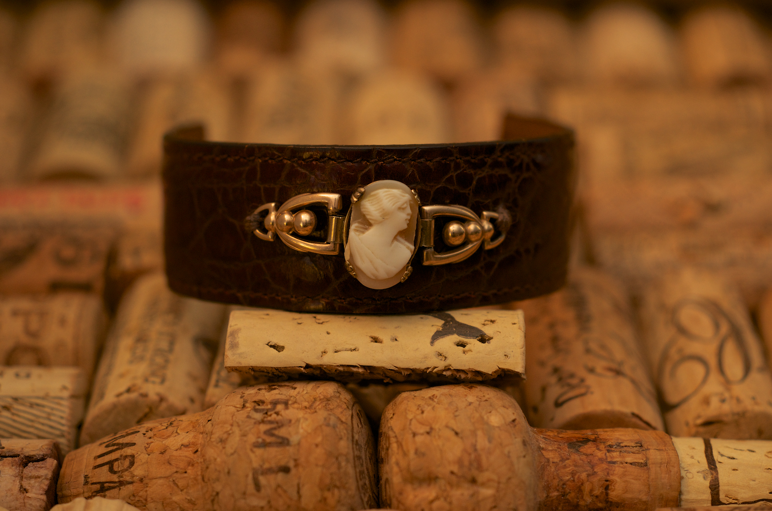 Look closely at the handiwork of this original cameo. It had languished in this client's jewelry box, a long forgotten memento that she believes dates to the early 1920s. Vintage by Cathy created a bracelet that makes it look like that is how it was originally imagined.