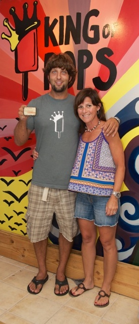 Ryan Giannoni, manager of King of Pops at Tybee Island, shown holding his new Vintage by Cathy buckle with the artist. The buckle is made from recycled King of Pops popsicle sticks! Best popsicles you can ever eat!! Visit Ryan at King of Pops on Butler Street on Tybee Island, Georgia. Check them out at  www.savannah.kingofpops.net