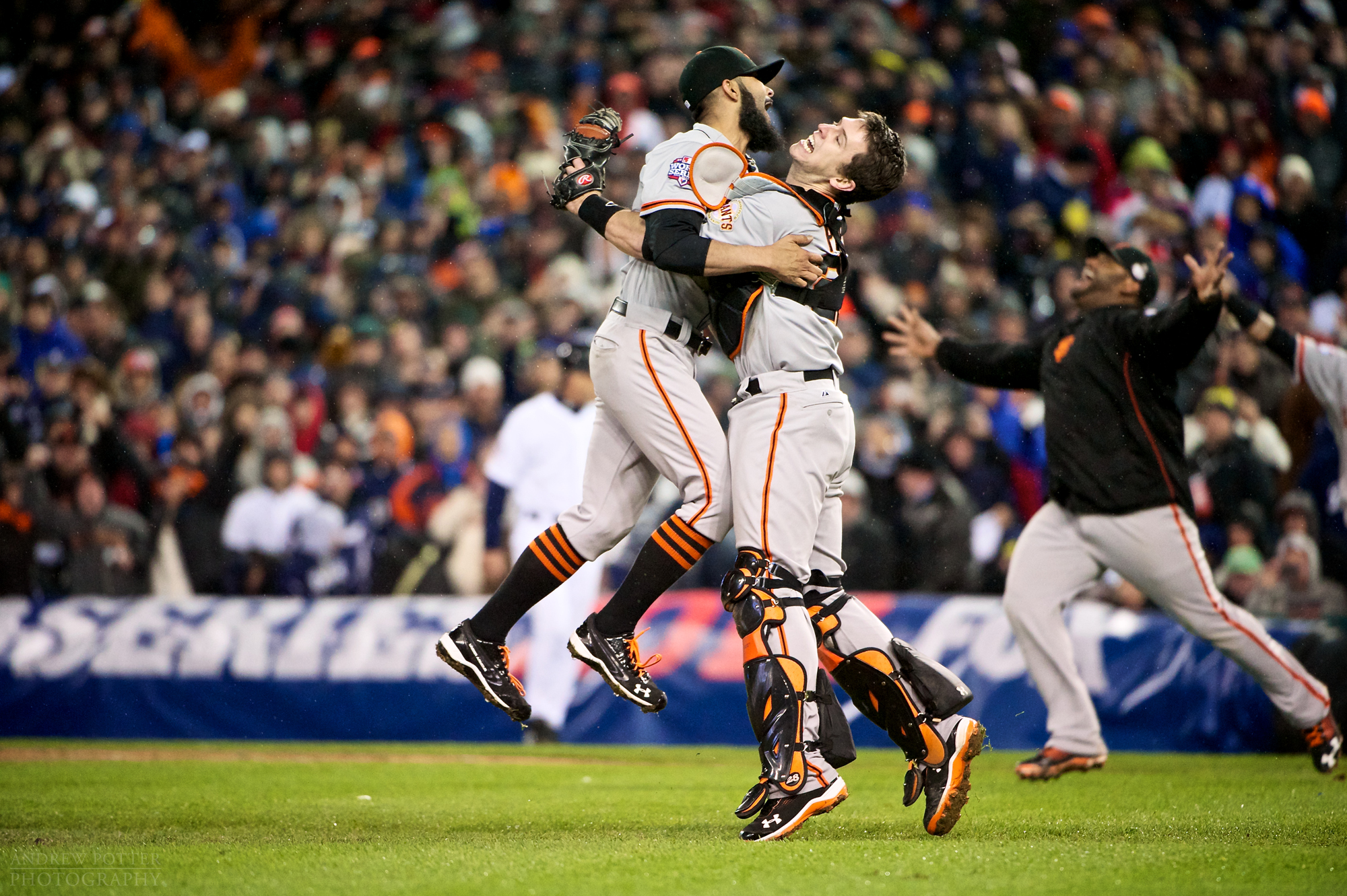 San Francisco Giants; Catcher; Buster Posey; Closing ;Pitcher; Brian Wilson; detroit; tigers; world series; 2012; photography; sports; action; winning; magazine; michigan