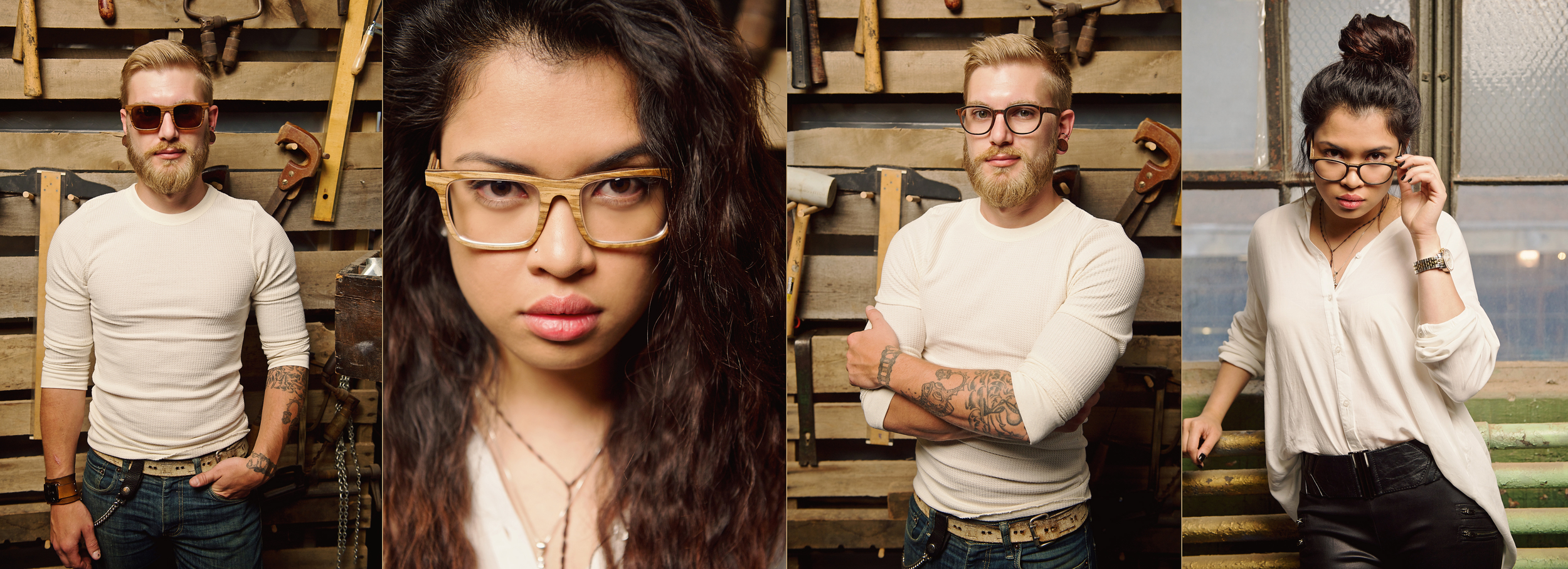 Ryan yargo; riz; lacerna; drew bradsord; Brandon McKee Davis; sharklion; detroit; Independent; Design; Manufacturing Co.; Wooden; Eyewear; Handcrafted; Detroit; Michigan; glasses; advertising