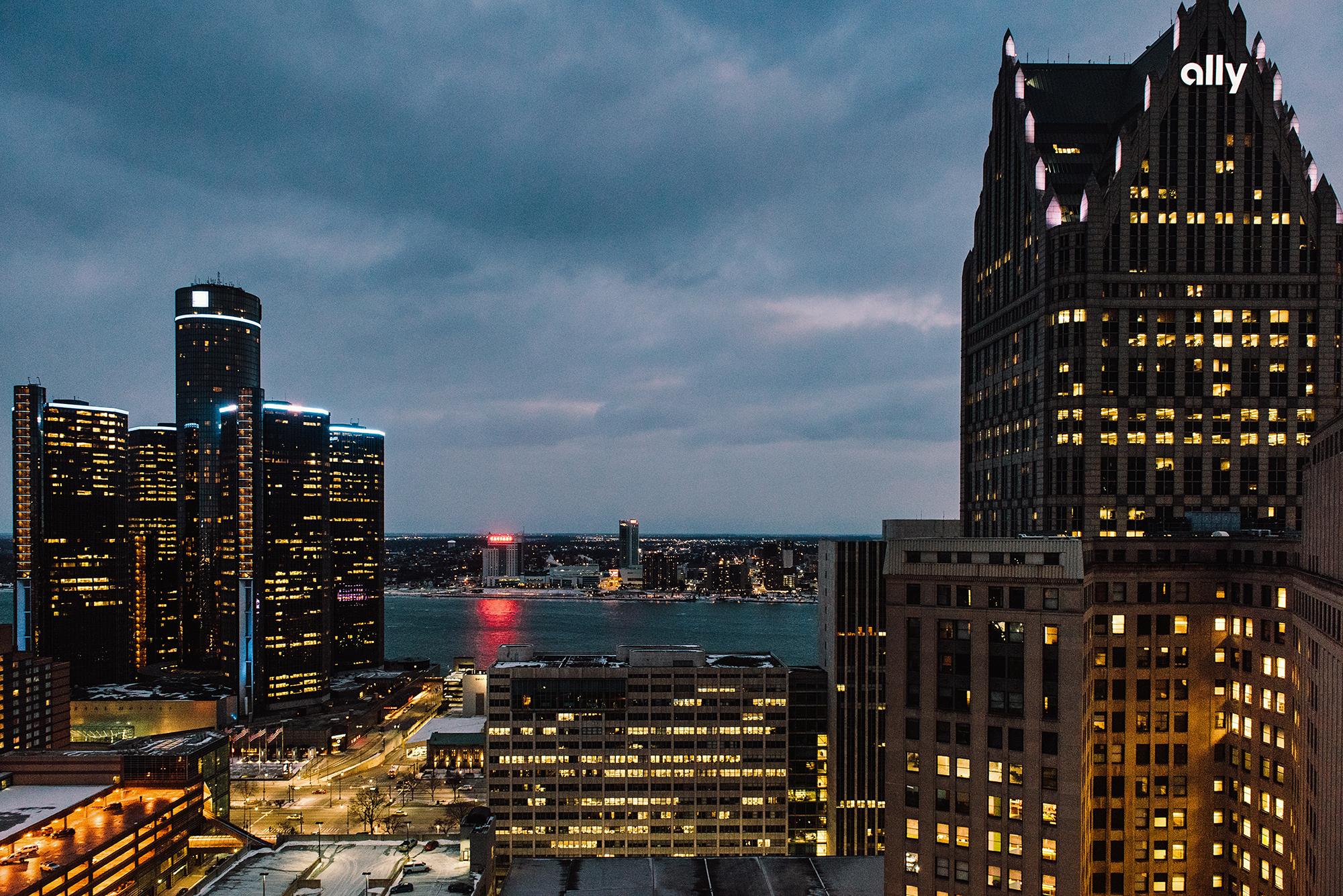 detroit: windsor; michigan; river; skyline; casino; rencen; photographer; andrew potter; drone; sky; photos