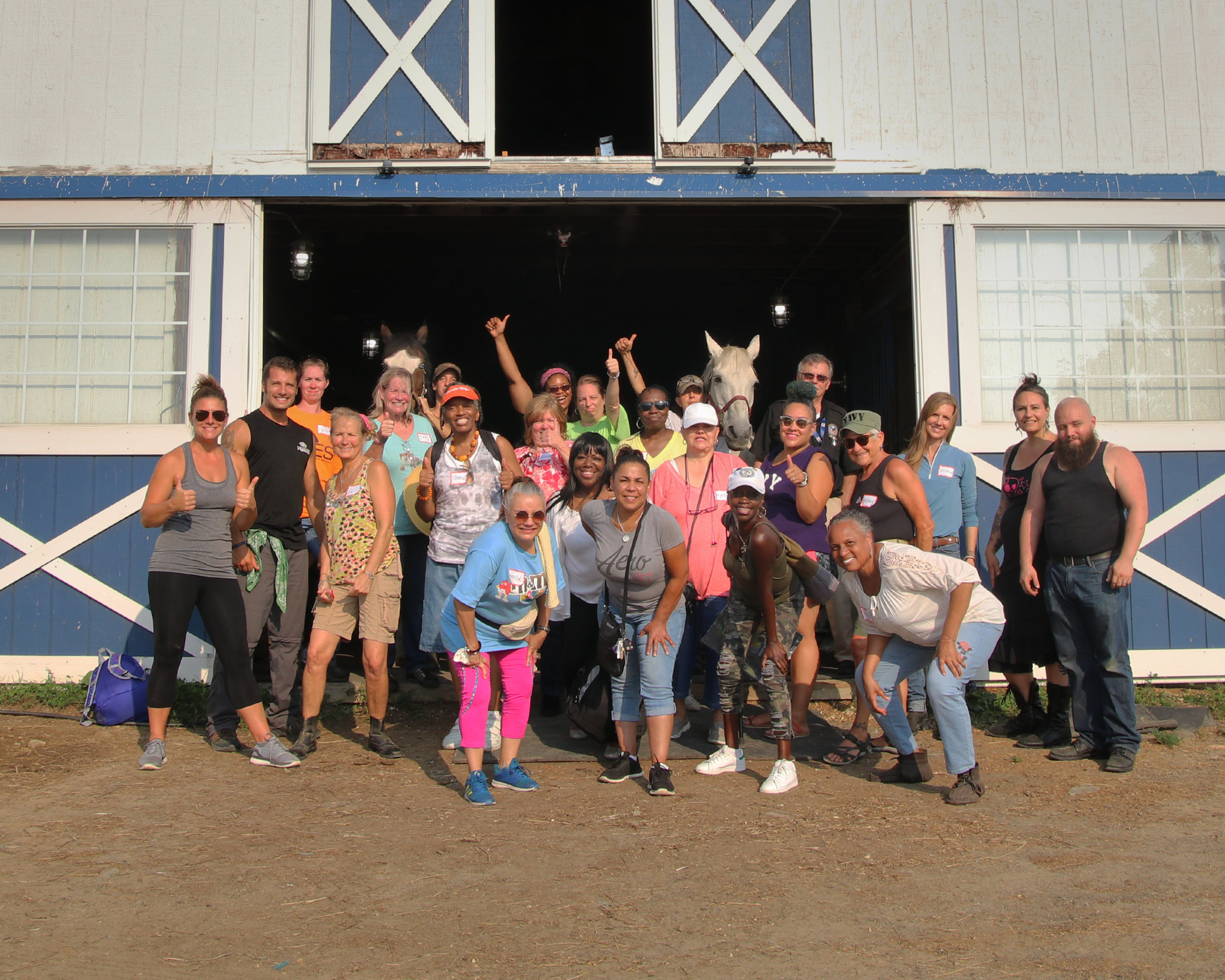 2017 Women Warrior's Workshop with Play For Your Freedom. A fantastic group of female vets joined us for a day of equine therapy, sports, yoga and art therapy. There was even a solar eclipse!!