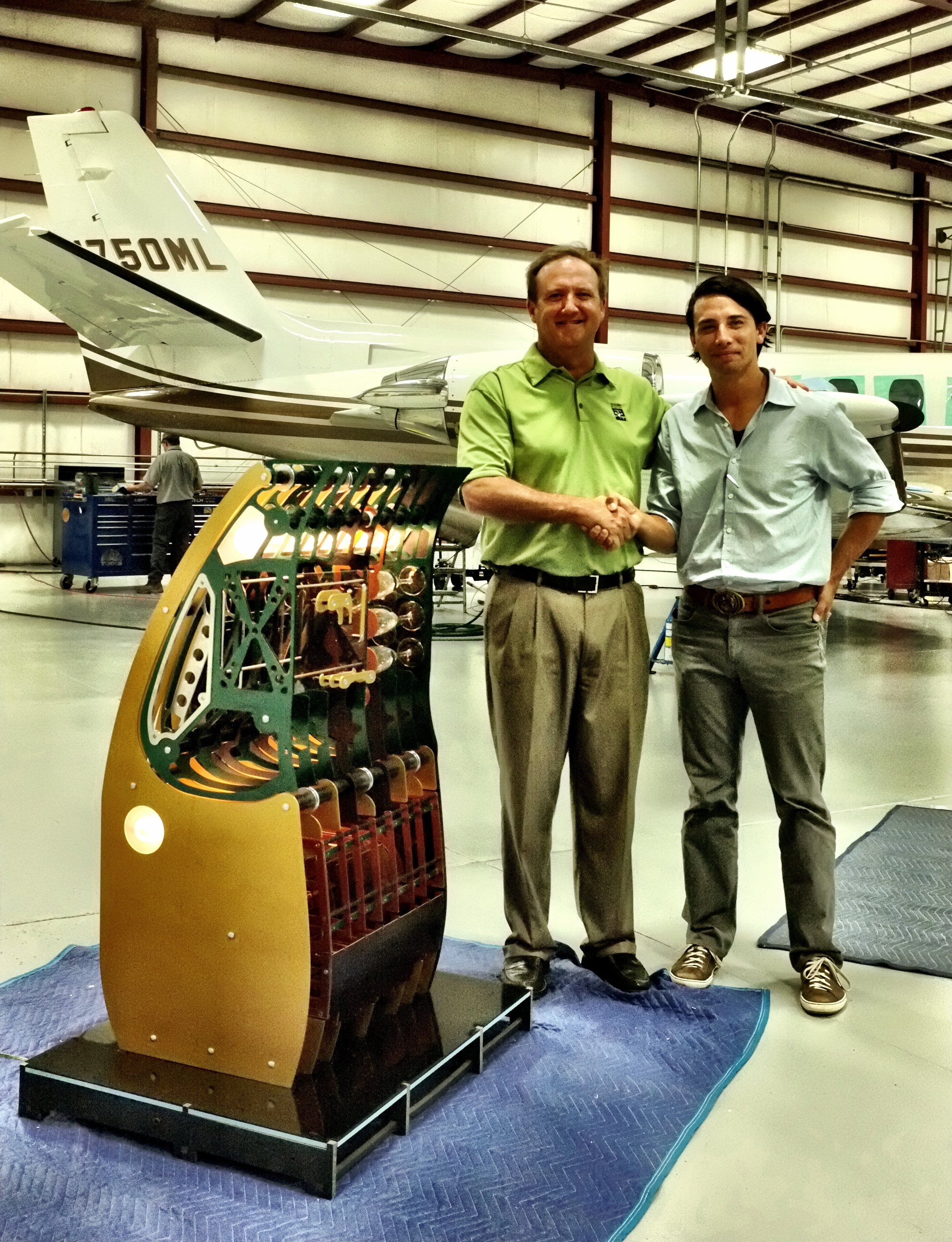 - A few months later Duncan Aviation had put together a business plan. They moved me and my family to Lincoln Nebraska so I can work side-by-side with the engineers in producing a prototype that could past the stringent 18G forward load case. After a few months we had designed the A2 prototype. Designed to fit in a phenom 300. In finite element, It passed the 18G forward load case, had within it all of the modular benefits but, we made it look just like the spec galley in the presently in jet. Although it looked the same on the outside, ours can be taken out of the aircraft in less than an hour by only two technicians. It had the same usable space, the same weight but could be taken apart and reassembled an infinite number of times without any loss in structural integrity.