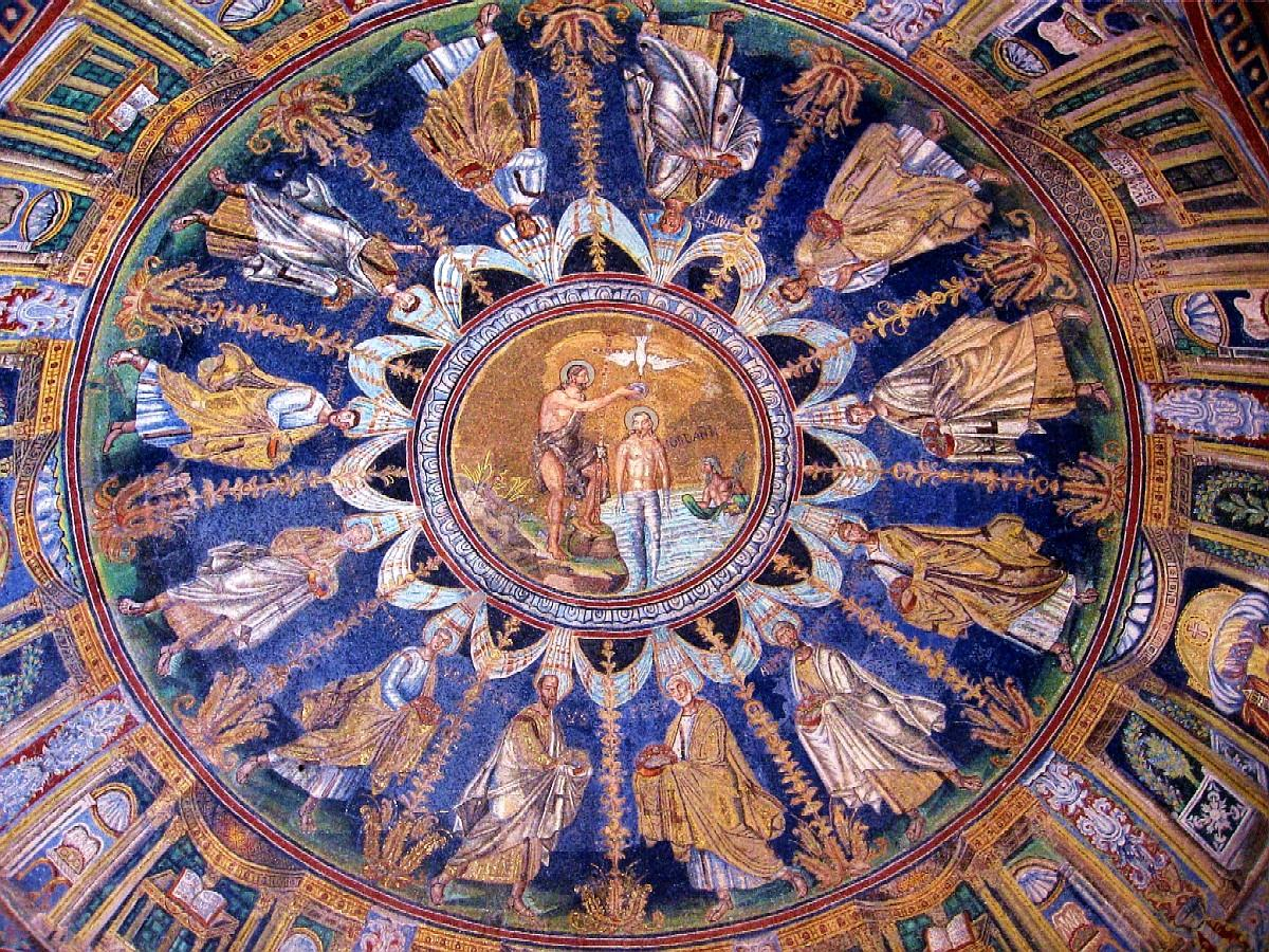 Mosaic dome in the Baptistry of Neon, Ravenna, Italy. Photo by  Jill and Ian .