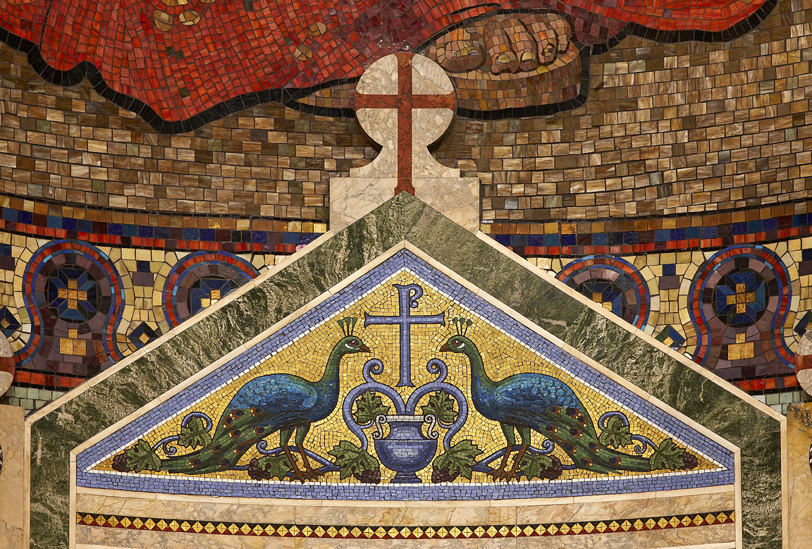 Mosaic of peacocks drinking from the streams of eternal life, St. Matthew Cathedral, Washington, D.C.