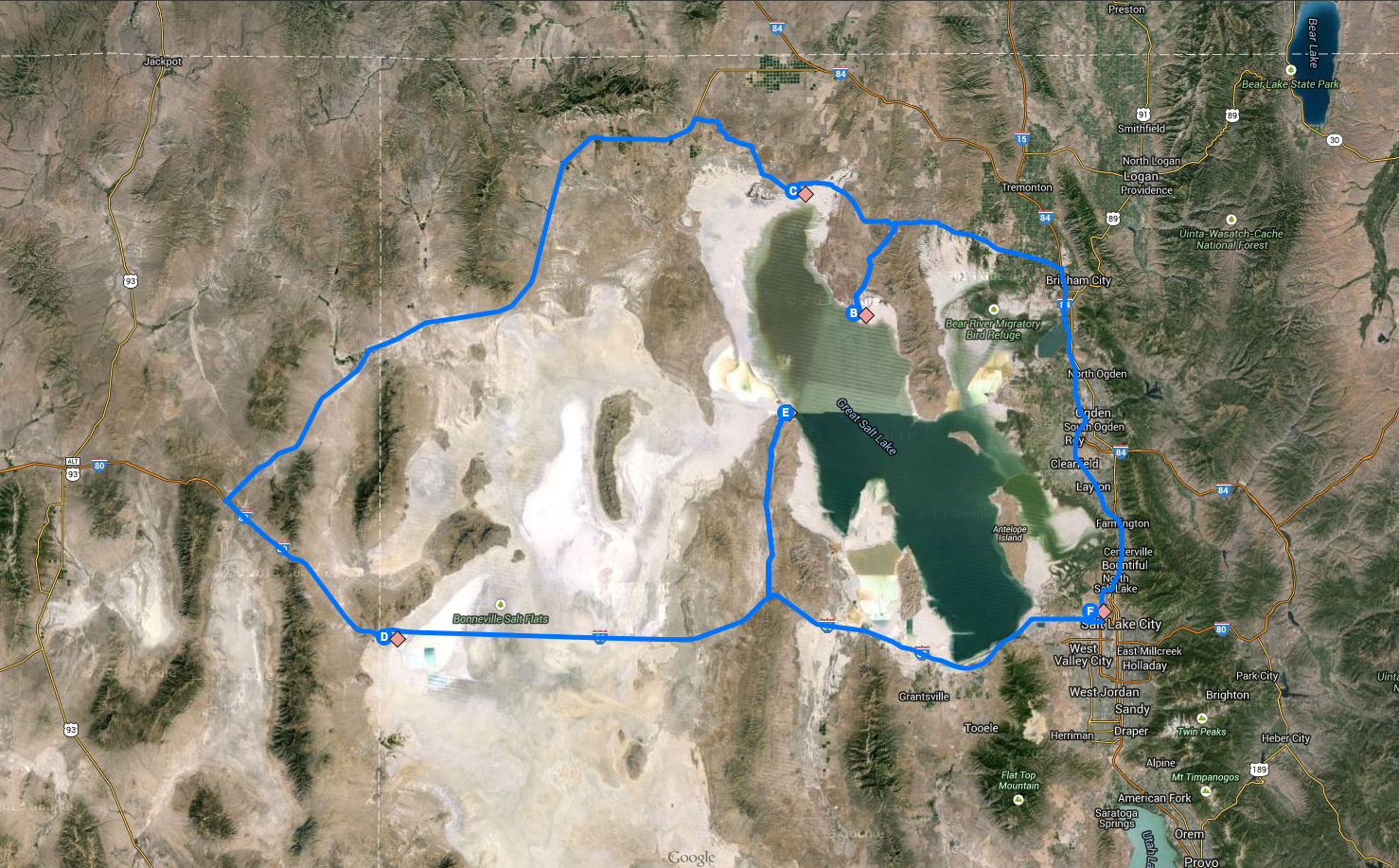 Itinerary map of the studio's planned trip around the Great Salt Lake.