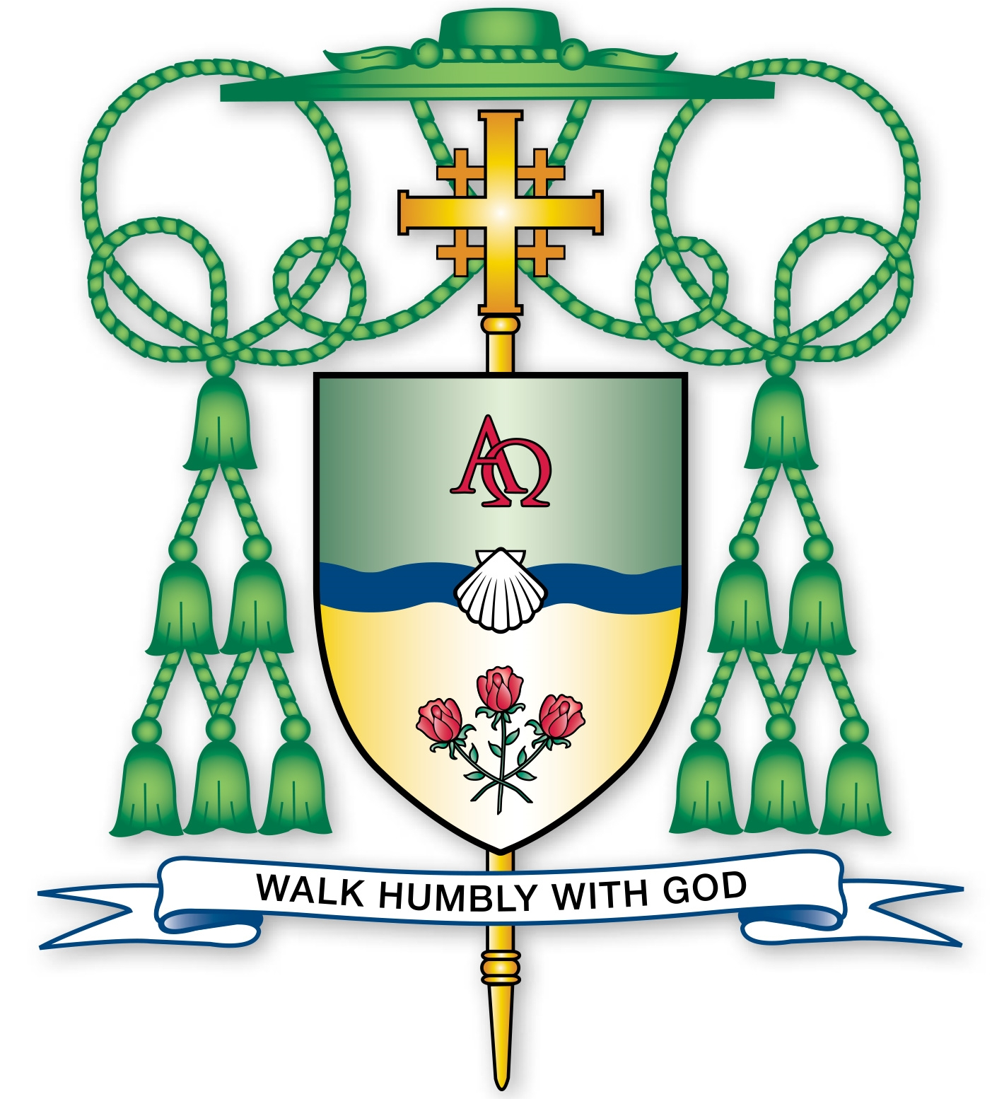 The newly ordained bishop's blazon and coat of arms.