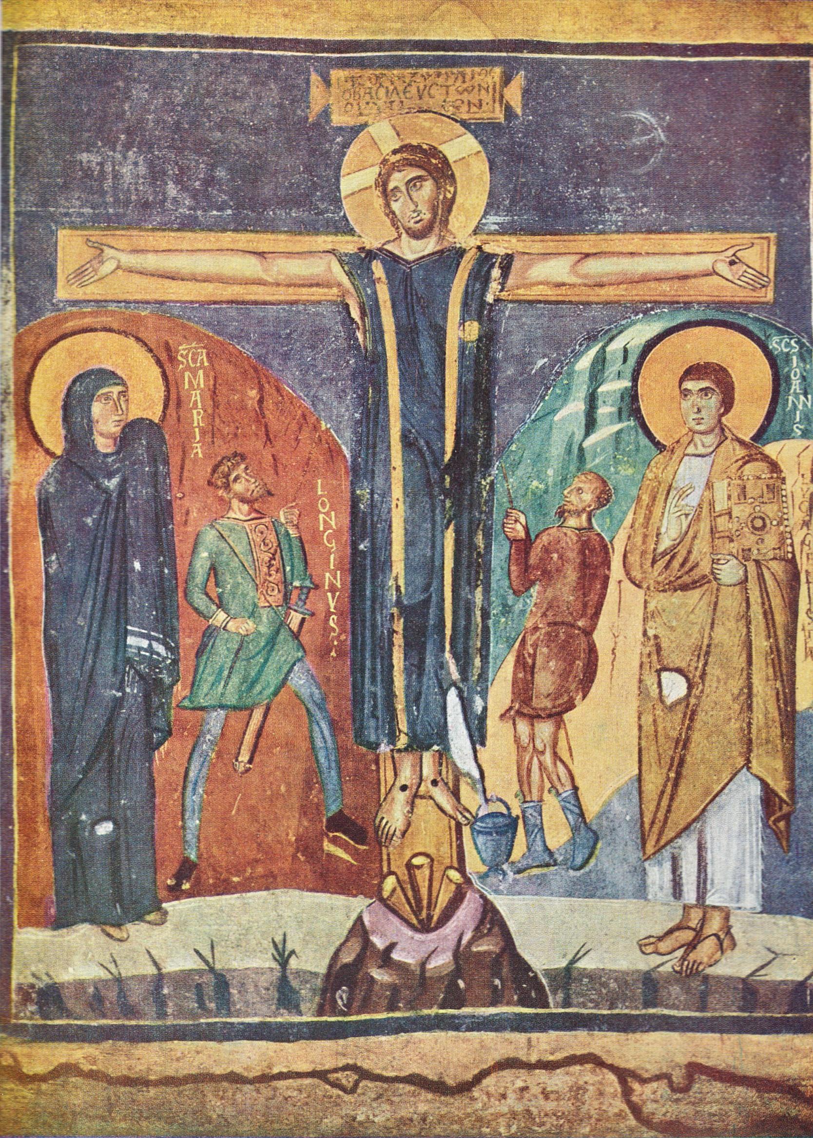 8th century fresco painting of the Crucifixion from Santa Maria Antiqua, Rome.