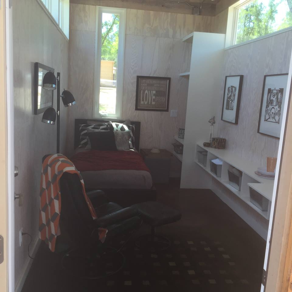 Inside a furnished micro-home.