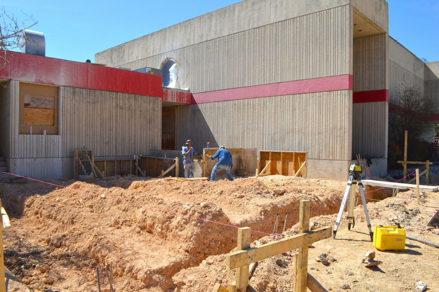 Foundation work is just beginning on the Entry Lobby Addition.
