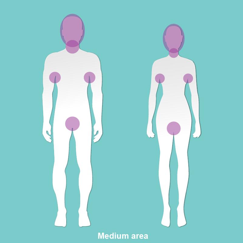 Medium Area - Full Face or NeckUnderarmsMedium Brazilian