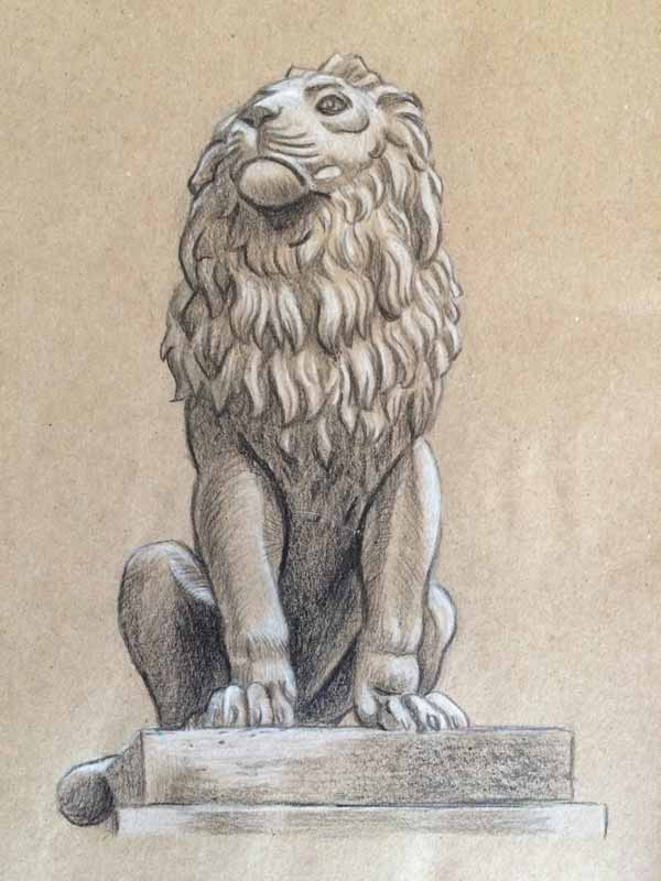 Another Schoolism assignment on the  Value of Value . I chose to sketch this on kraft paper using pencil crayon.