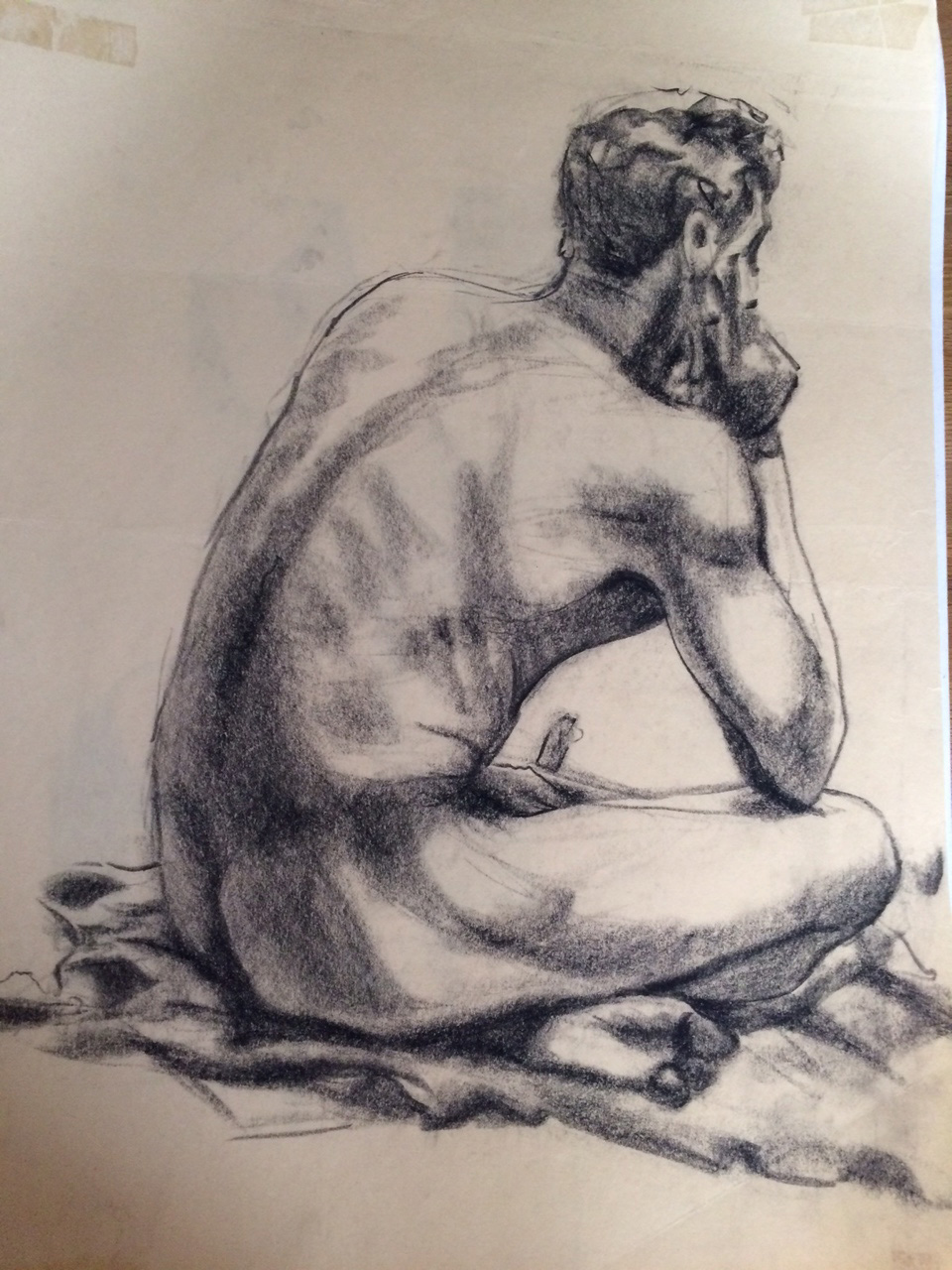 From a life drawing session at the Toronto School of Arts.  Conté on newsprint.
