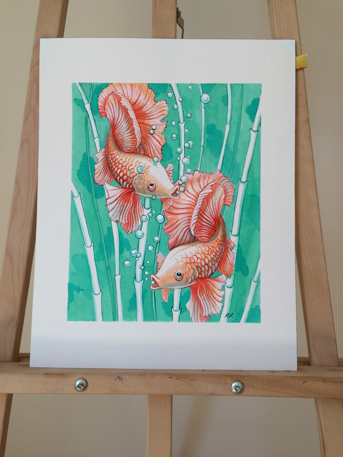 Photo of the ballerina goldfish painting