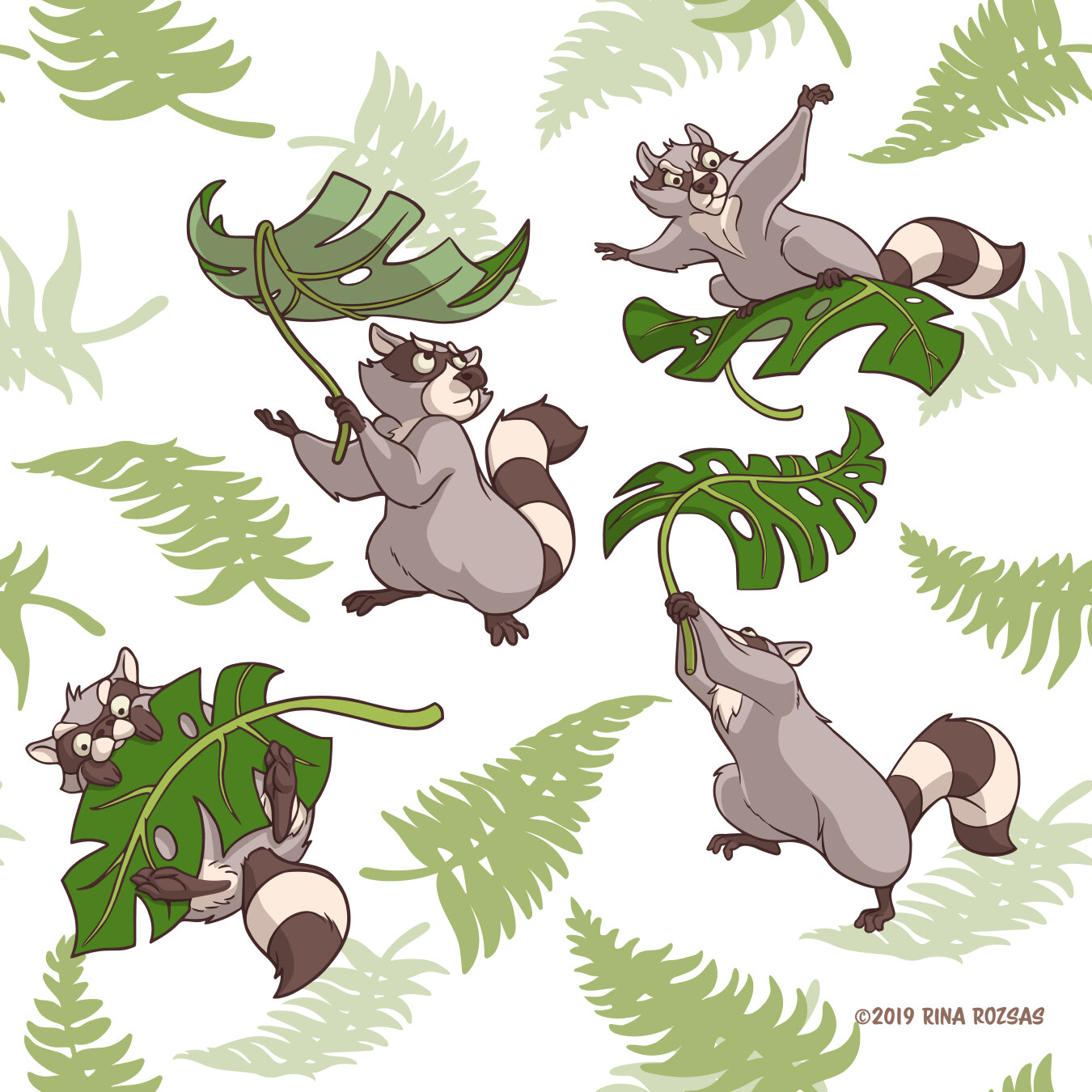 Leave It to Raccoons Repeat Pattern