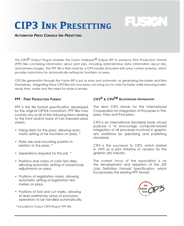 CIP3 Product Sheet