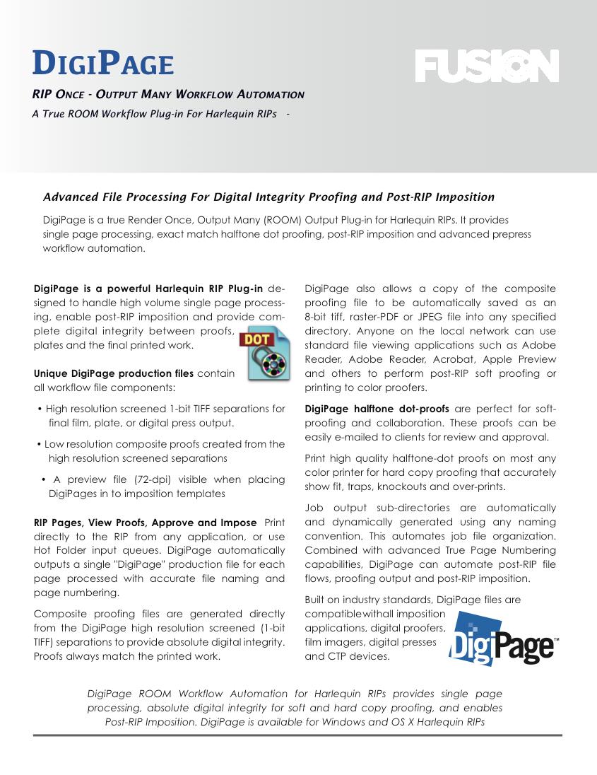 DigiPage Product Sheet