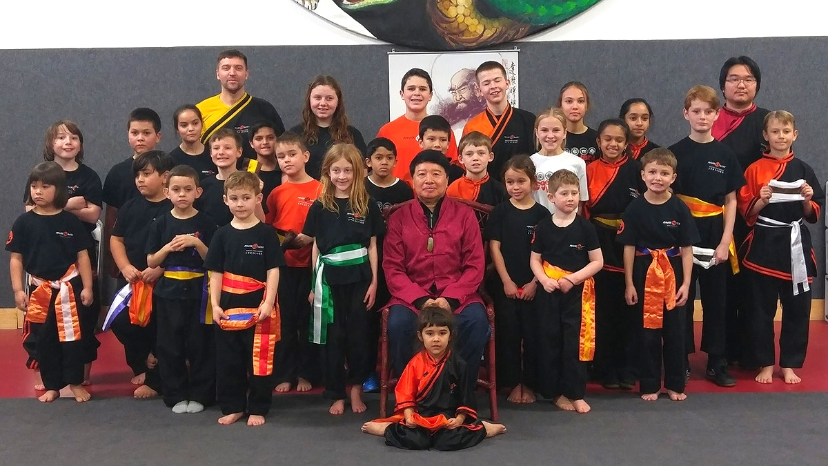 YOuth Review Presided over by Grand Master Huang Lien-Shun with Masters Woolsey and JUng along with some of our awesome youth students.