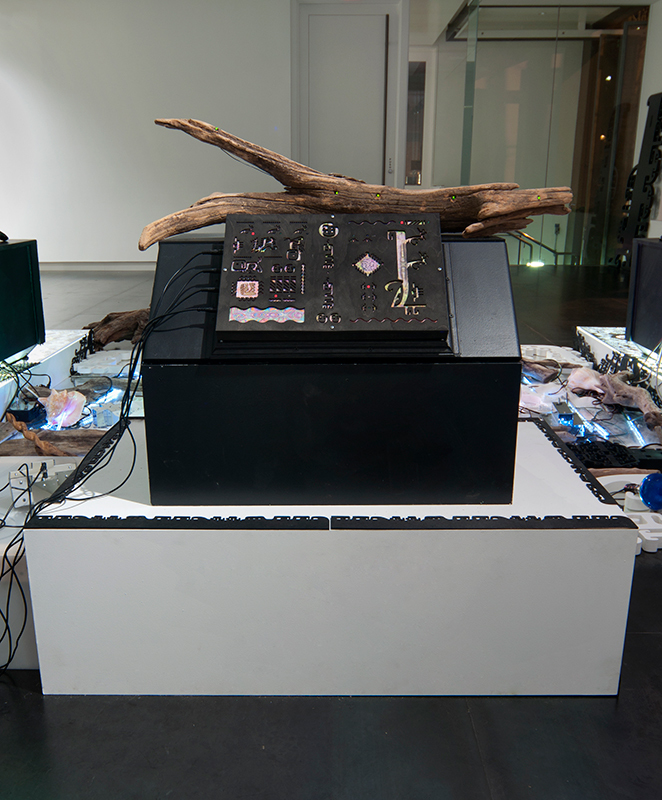 Controller Station (Touch Panel) , 2013 12 x 18 x 4 inches, electronics, digital print, laser-cut wood. Speakers, box stand and attached equipment not included.