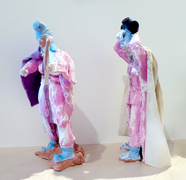 Fighting Amazons,  2014   t  e  rracotta with pigmented slip, fabric  11 x 6 x 4 inches, 12 x 4.5 x 4.5 inches