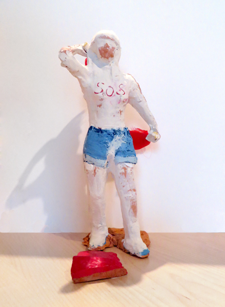 Kiev (FEMEN),   2014   terracotta with pigmented slip, fabric 11 x 5 x 7 inches
