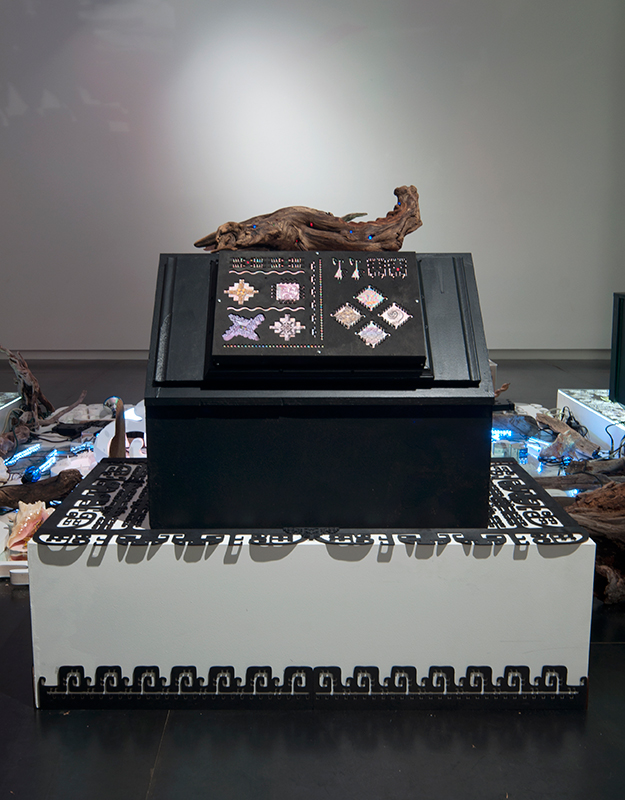 Untitled (Touch Panel) , 2013 (installation view) Does not include driftwood, amp box, or decorated pedestal.
