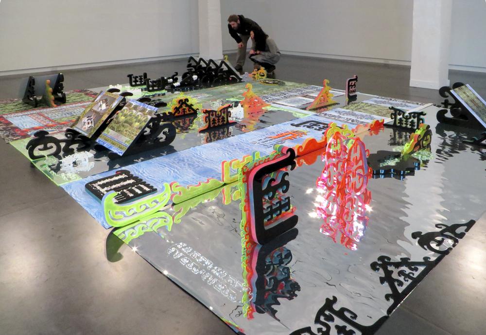 Brenna Murphy  Central~Lattice Tool Array , 2014 installation, 203 x 152 inches
