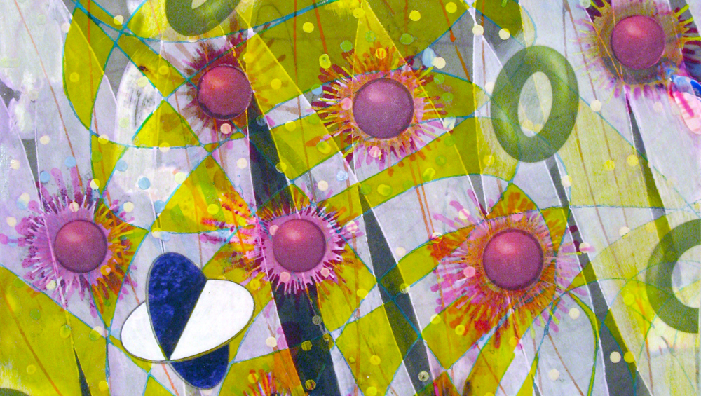The Quatrefoil's Journey (detail), 2014 16 x 12 inches, ink, acrylic paint, inkjet prints on illustration board mounted to Sintra