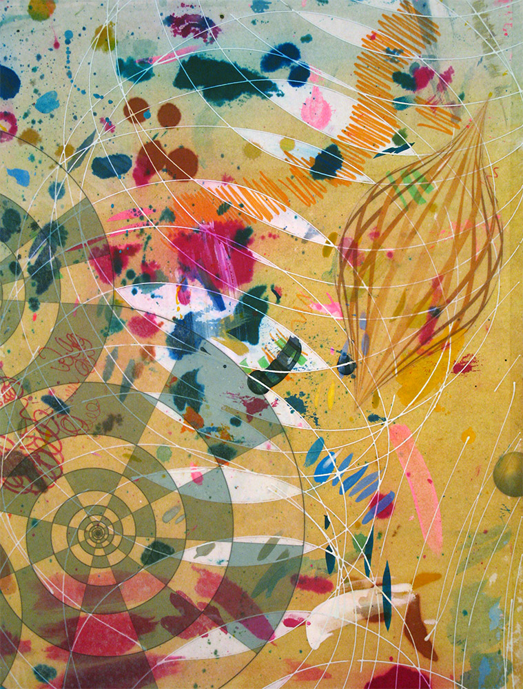Spindle , 2014 16 x 12 inches, ink, acrylic paint, inkjet prints on illustration board mounted to Sintra