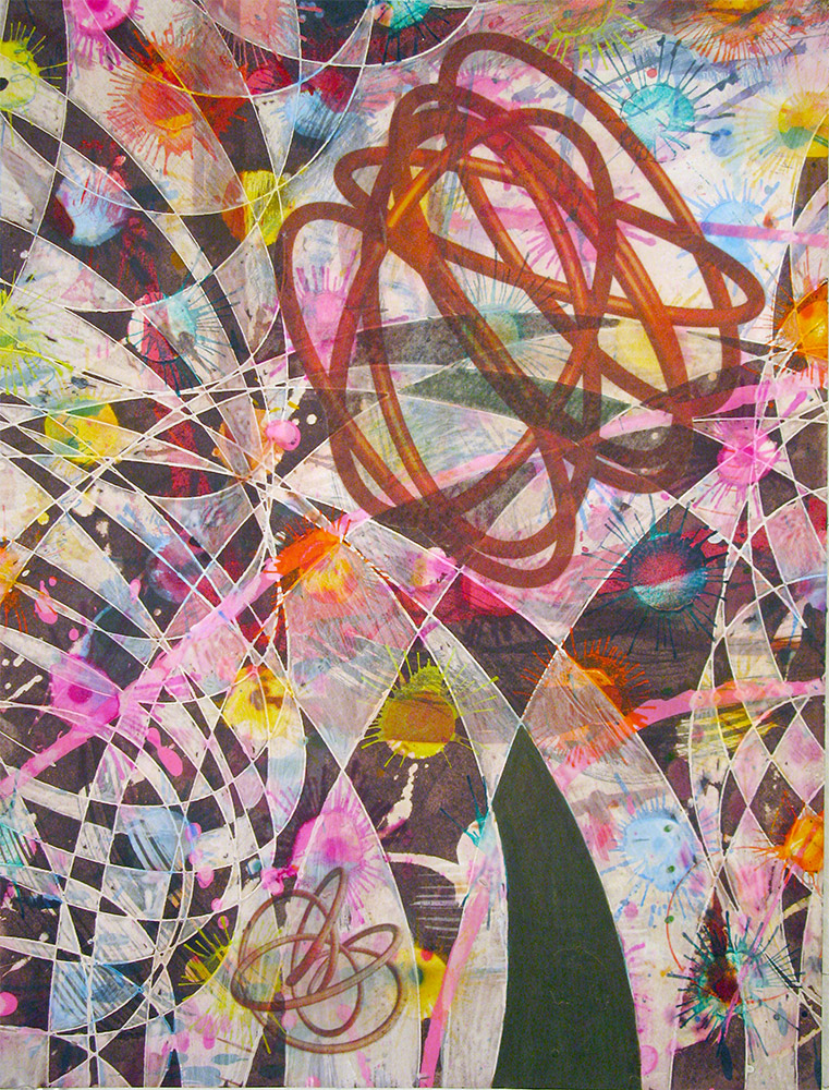 Sunrise , 2014 16 x 12 inches, ink, acrylic paint, inkjet prints on illustration board mounted to Sintra