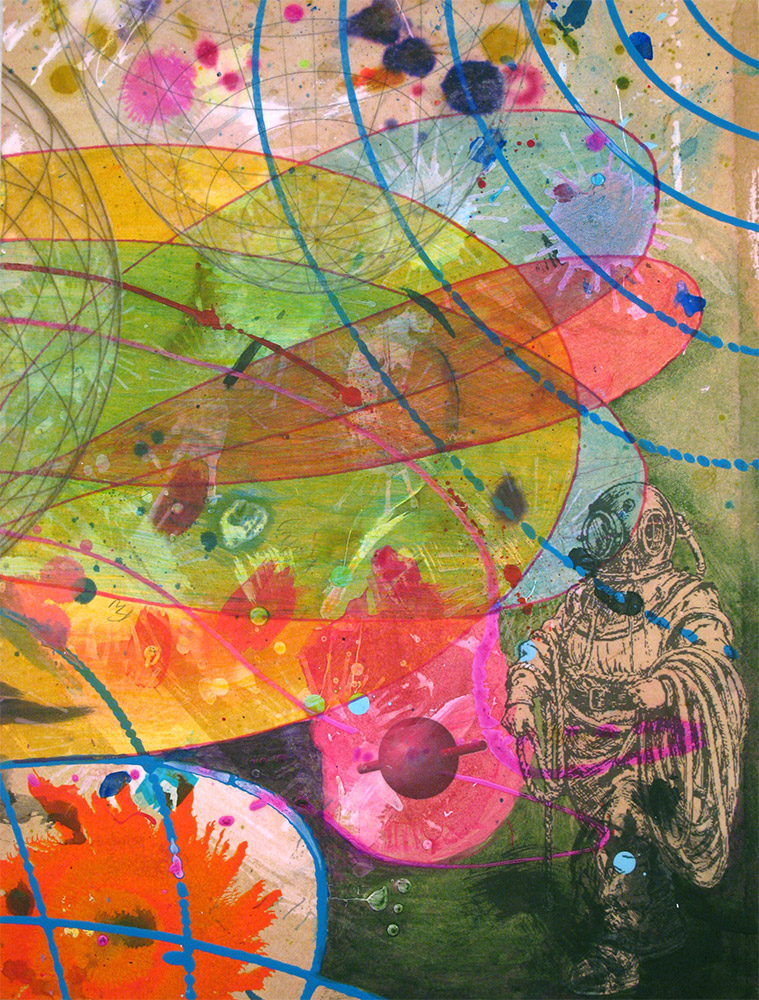 The Diver's Discovery , 2014 16 x 12 inches, ink, acrylic paint, inkjet prints on illustration board mounted to Sintra