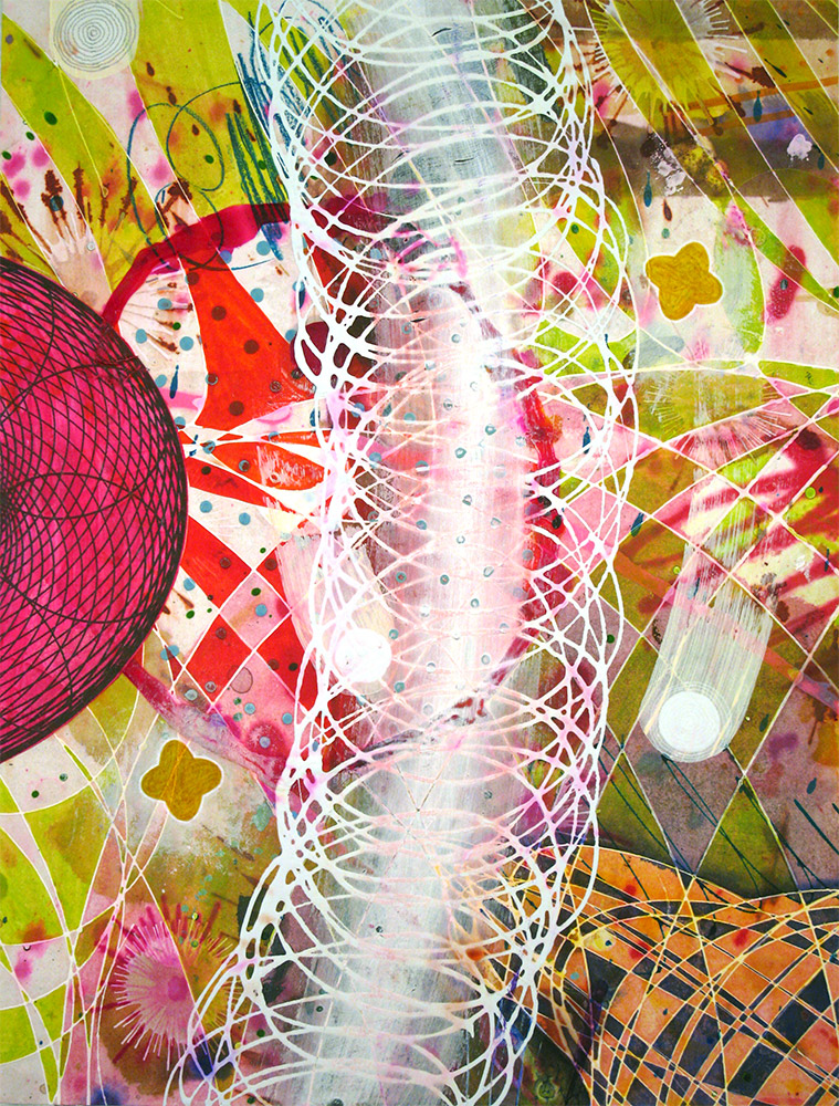 The Oregon Vortex , 2014 16 x 12 inches, ink, acrylic paint, inkjet prints on illustration board mounted to Sintra SOLD
