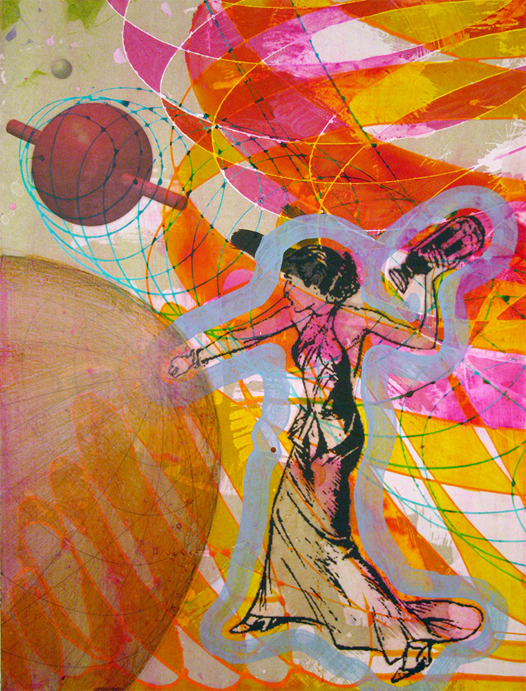 The Traveling Sphere , 2014 16 x 12 inches, ink, acrylic paint, inkjet prints on illustration board mounted to Sintra