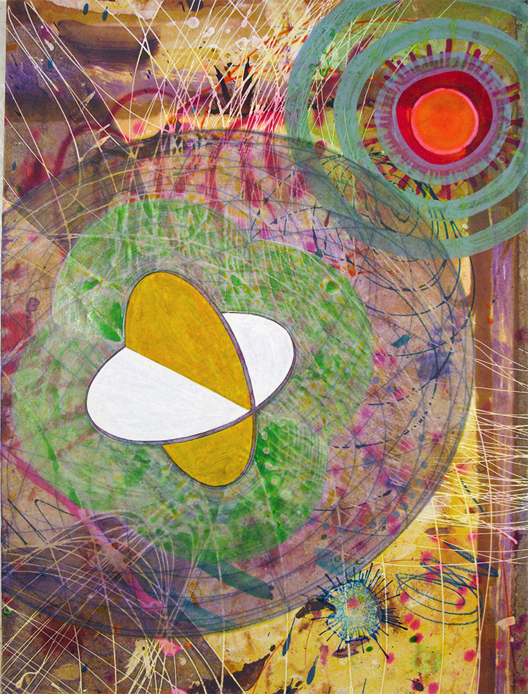 Traveling Quatrefoil with Aura , 2014 16 x 12 inches, ink, acrylic paint, inkjet prints on illustration board mounted to Sintra