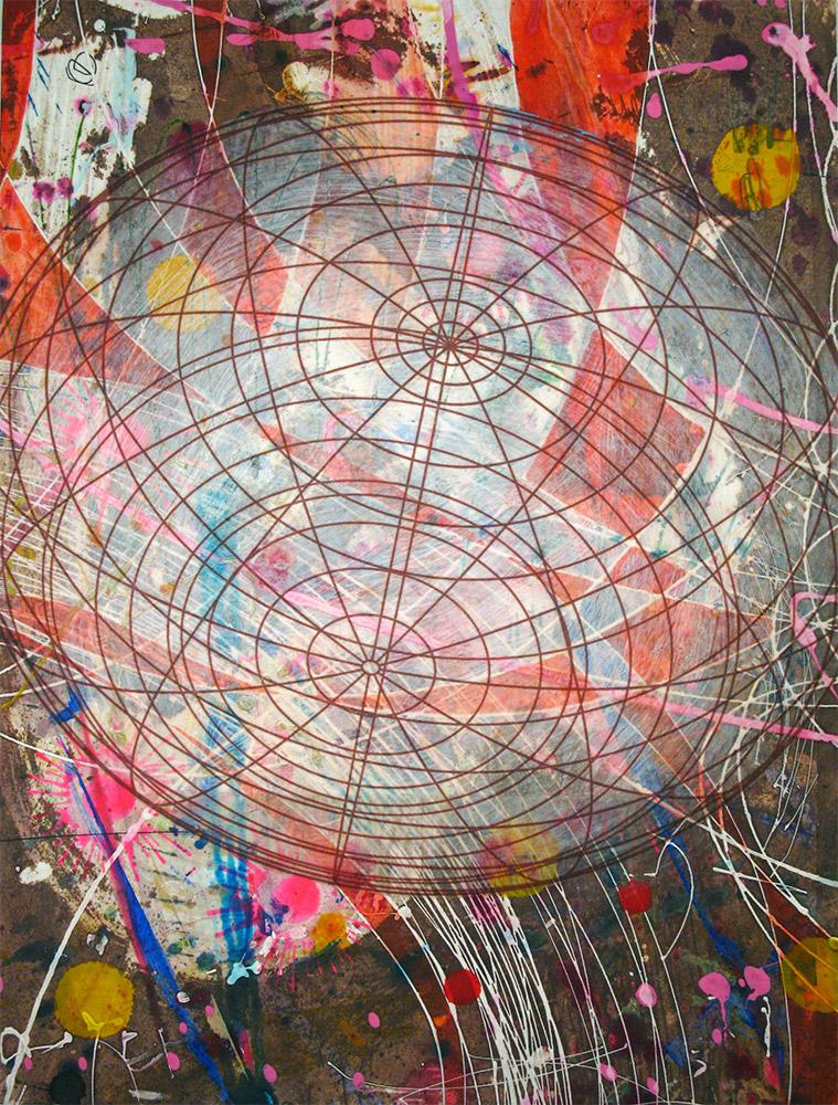 Wayfarer , 2014 16 x 12 inches, ink, acrylic paint, inkjet prints on illustration board mounted to Sintra